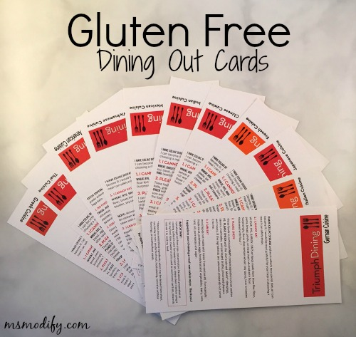 Gluten free dining out cards