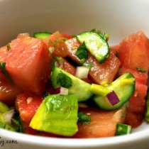 watermelon, cucumber & avocado salad