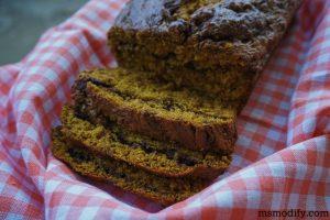 gluten free Nutella pumpkin bread