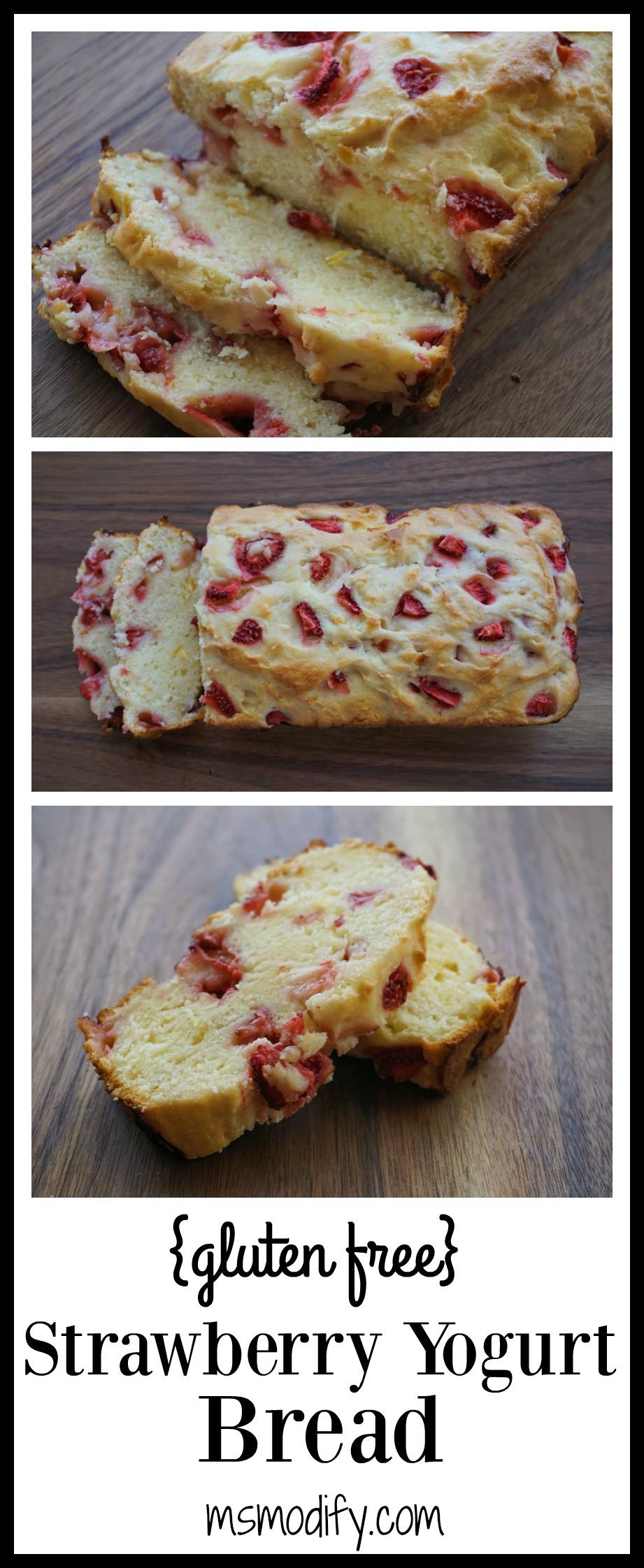 gluten free strawberry yogurt bread