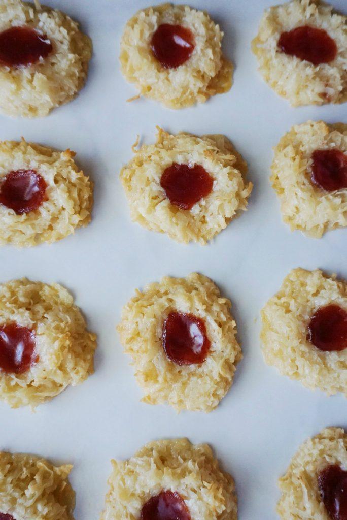 Gluten Free Coconut Macaroon Thumbprint Cookies