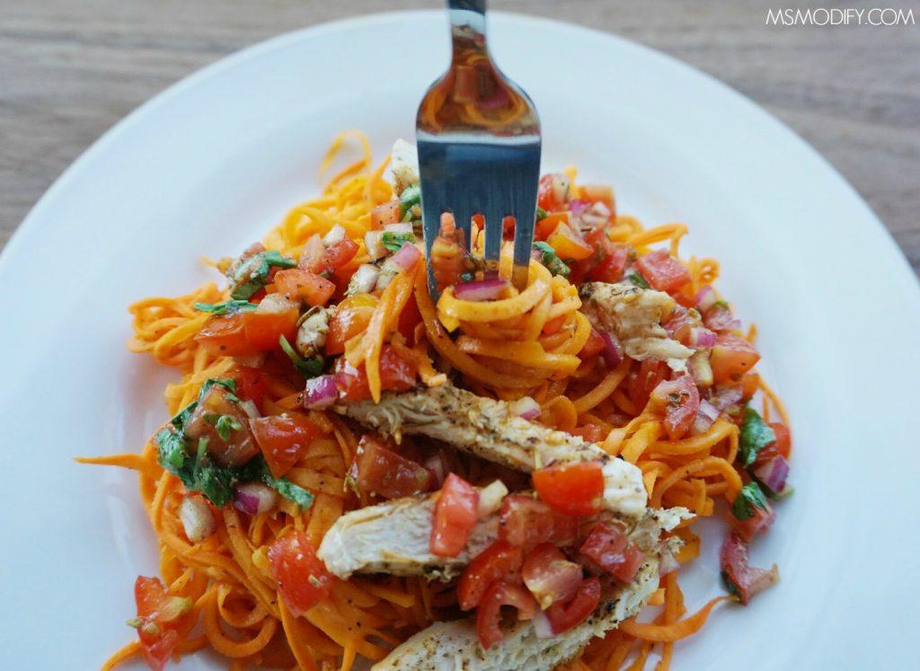 """Grilled Chicken Bruschetta """"Pasta"""""""